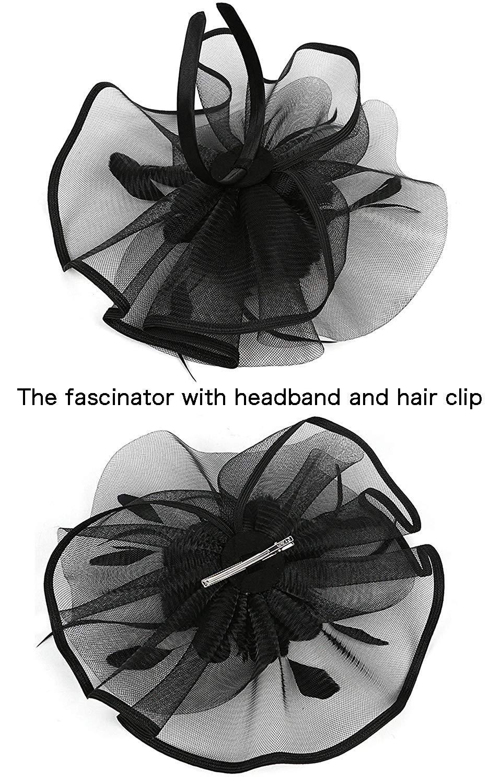Kentucky Derby Fascinators for Women Sinamay Tea Party Hat Cocktail Headpiece Flower Mesh Feathers Headband Hat Black-AD by Merya Dress (Image #2)
