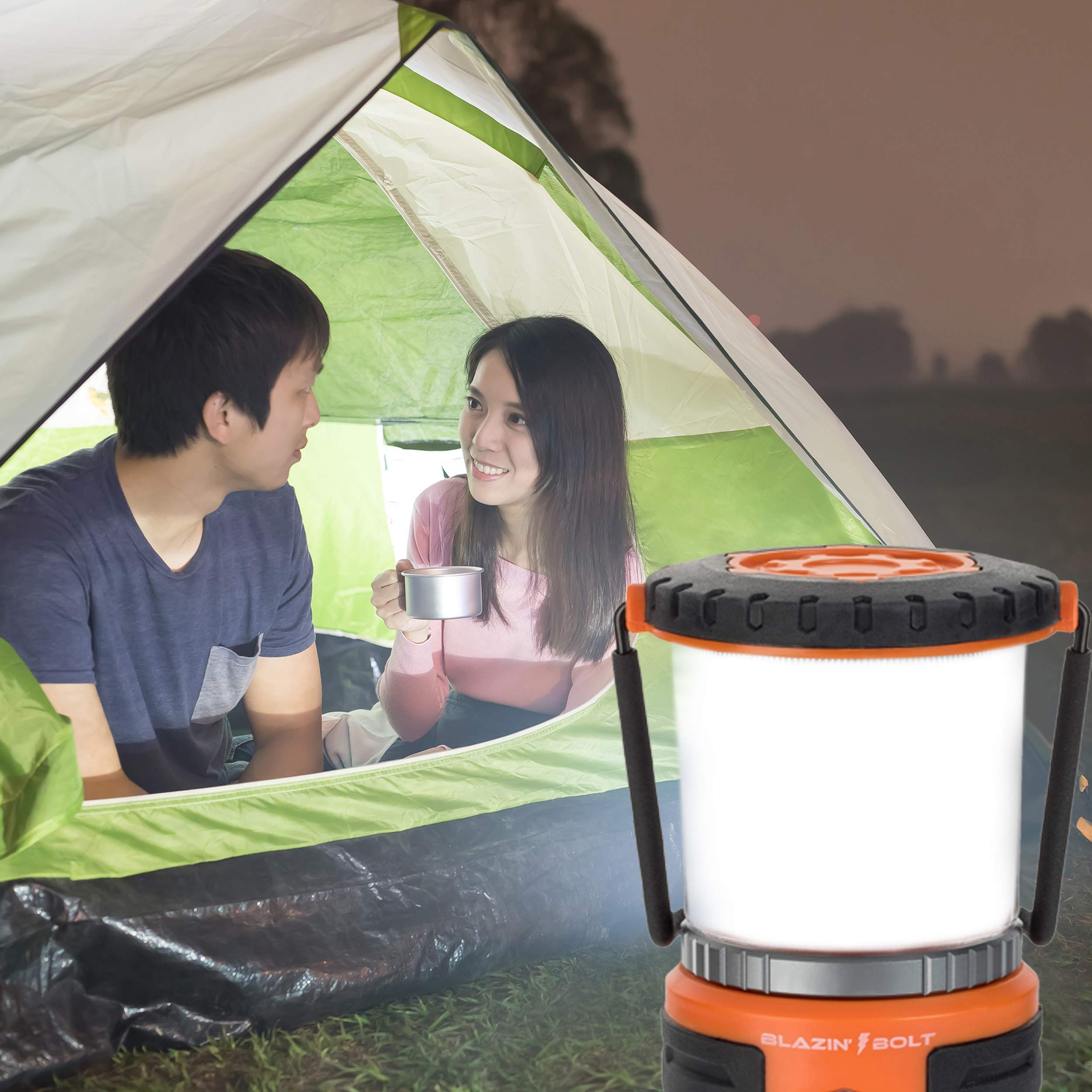 Brightest Rechargeable Lantern LED | Hurricane, Blackout, Storm | Power Bank Light | 400 Hour Runtime (Orange) by Blazin' Bison (Image #7)
