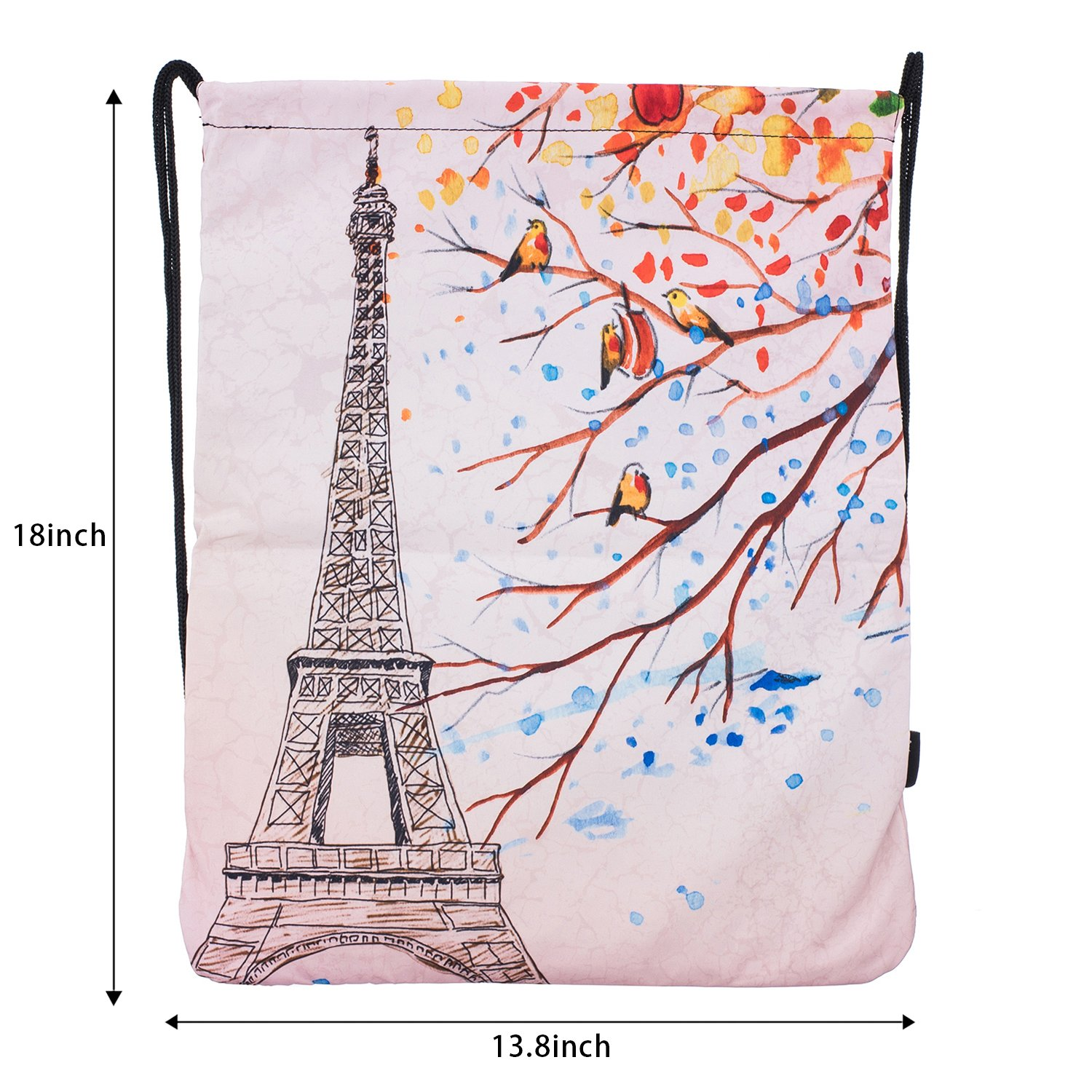 iColor Sport Sackpack,Drawstring Backpack,Stylish Multipurpose Girls Nylon Gym Bags,Teen Yoga Dance Bag,Lightweight Gym Bag for Women Cycling Hiking,Gymsack Travel Daypack 18'' x 13.8'' (Eiffel Tower) by iColor (Image #2)