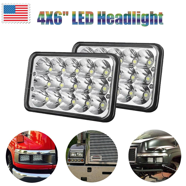 4x6 Led Headlight Bulb H4656 H4 Conversion Kit For C5500 Brake Light Pigtail Wiring Diagram Peterbilt Kenworth Ford Chevrolet Gmc 6000k White High Low Dual Sealed Beam Fog Main Lights