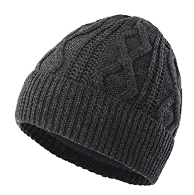 Decentron Men s Fleece Lined Cable Knit Beanie Hat Thick Warm Winter Hats  Cuff Beanie Skull Cap 352e3f74f3a1
