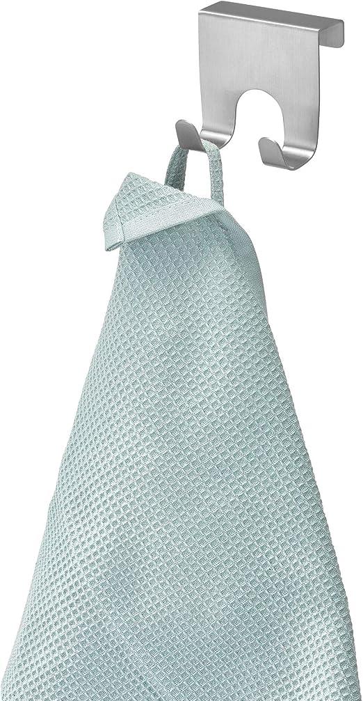 iDesign Forma Handtuchhalter ohne Bohren kleiner Türhaken aus Edelstahl silberfarben