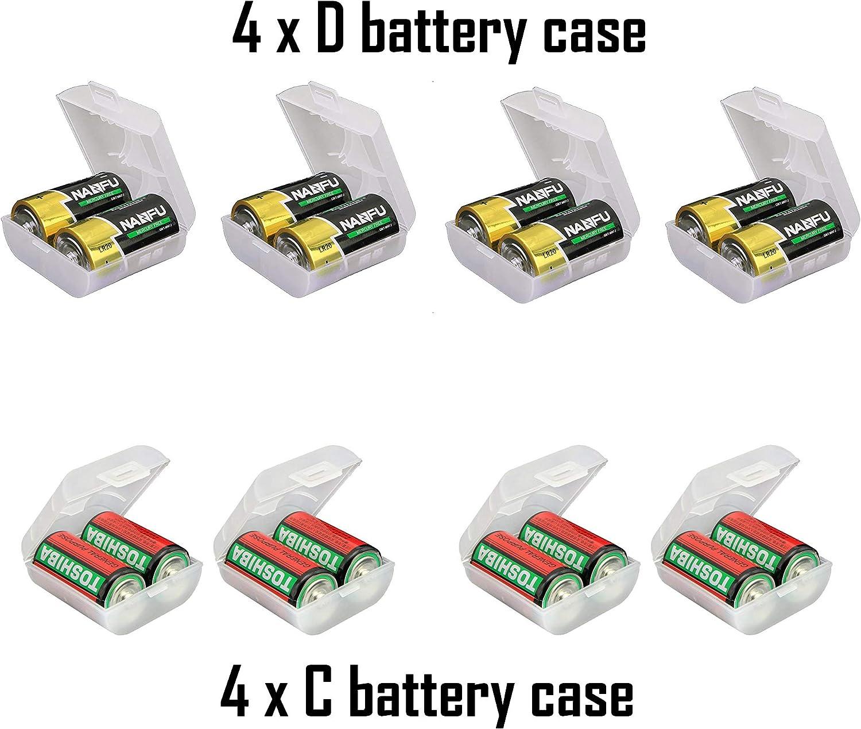 Whizzotech AA AAA C D Battery Storage Case Holder Organizer Box 4C + 4D
