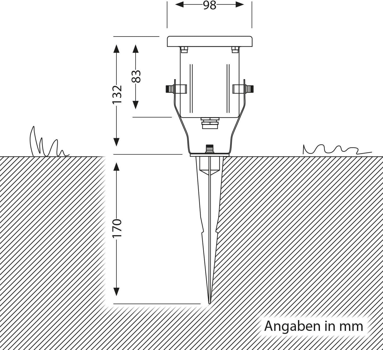 ledscom.de Gartenstrahler KUK mit Erdspieß für außen, Edelstahl, je 5.2W =34W 360lm 100° warm-weiß 3er Set Einzeln (Ohne Vorschaltgerät)
