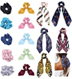 Milacolato 15 Pcs Hair Scarves Hair Ties Scrunchies Chiffon Floral Scrunchie Hair Bow Ties Ponytail Holder Scrunchy 2 in…