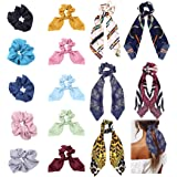 Milacolato 15 Pcs Hair Scarves Hair Ties Scrunchies Chiffon Floral Scrunchie Hair Bow Ties Ponytail Holder Scrunchy 2 in 1 Vi