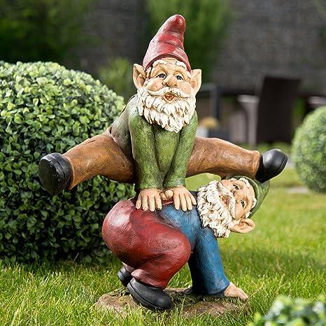 Royal Gardineer – Enano de jardín de Duo al caballete Saltar, pintado a mano: Amazon.es: Jardín