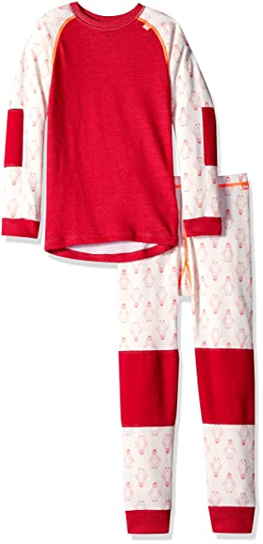 23caa4d0f4 Helly Hansen Kids LIFA Merino Wool Warm Baselayer Set Top and Bottom, 183  Persian Red