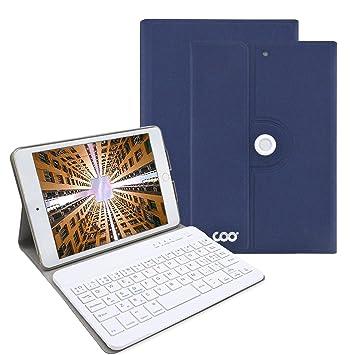 Funda con teclado para ipad mini 1/2/3,COO 360 grados soporte