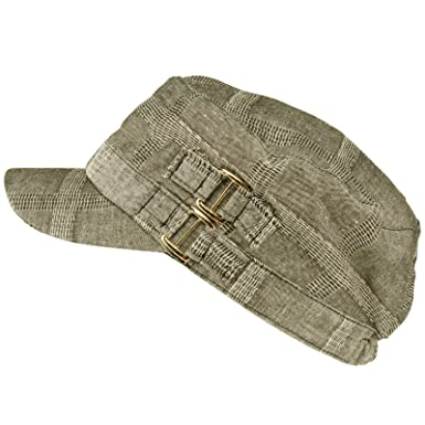 ebb4b044d29 SK Hat shop Summer Ladies Linen Buckle Belt Tonal Plaid Military Cadet  Castro Cap Hat Gray  Amazon.co.uk  Clothing