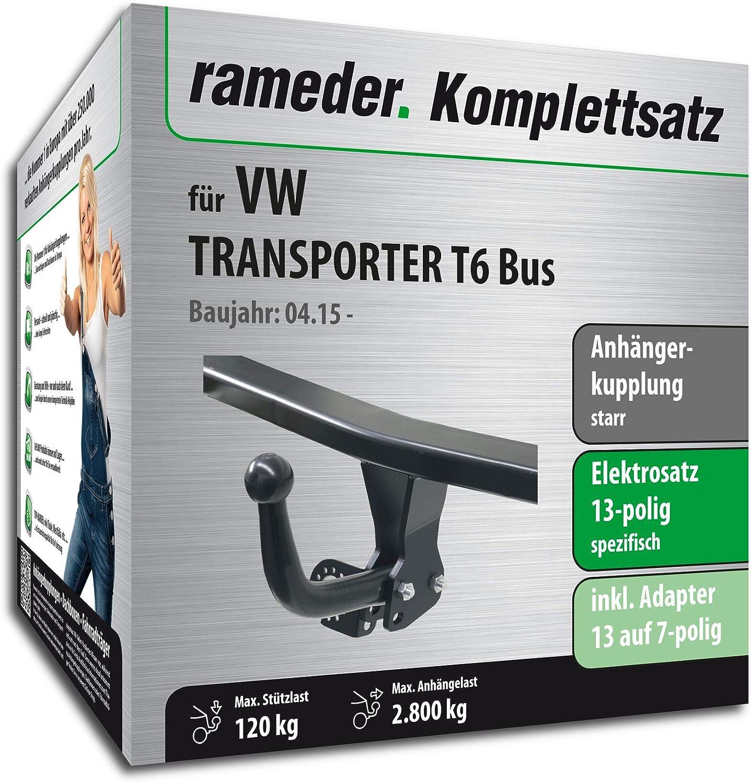 149201-14350-1 Rameder Komplettsatz Anh/ängerkupplung starr 13pol Elektrik f/ür VW Transporter T6 Bus