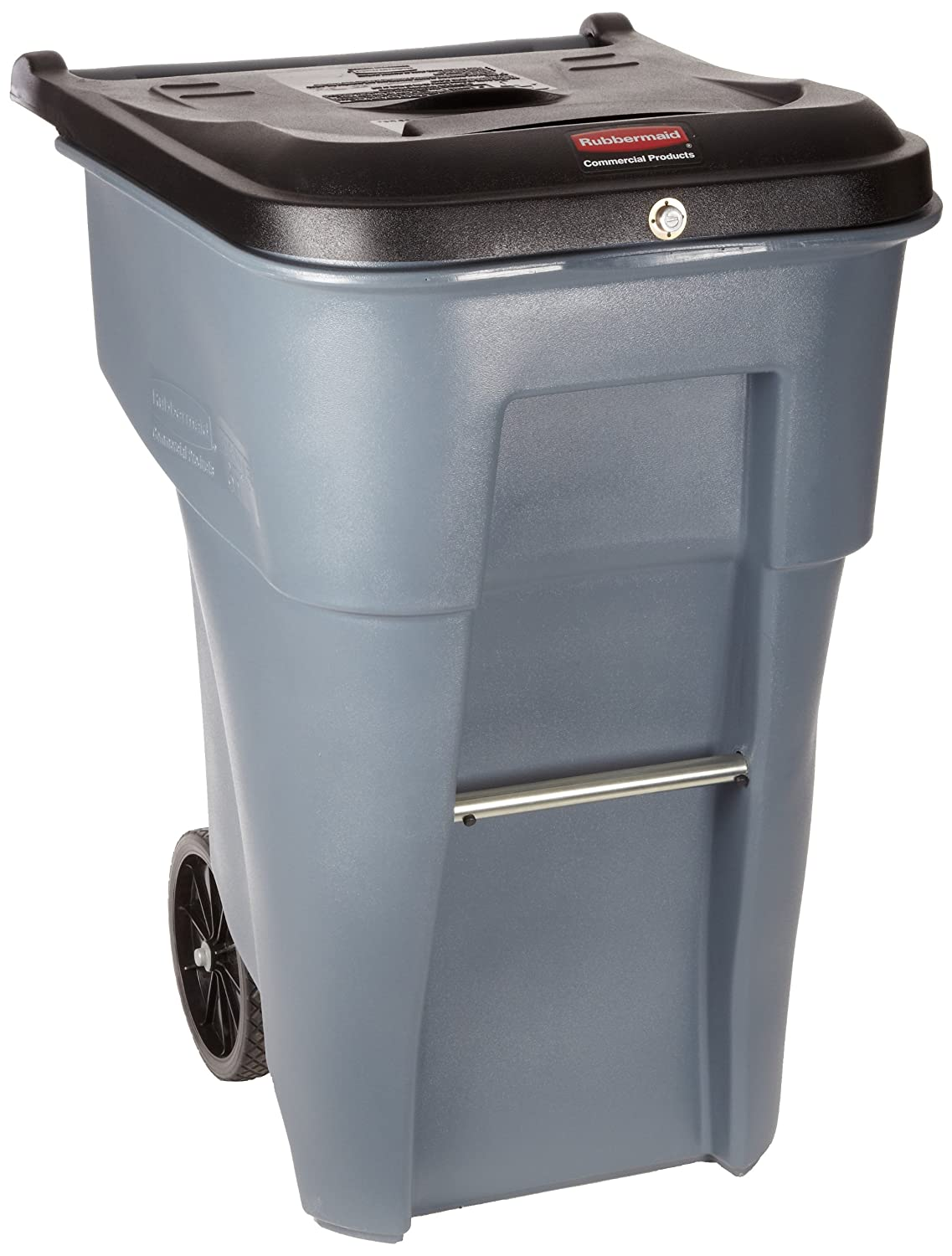 rubbermaid commercial brute heavyduty rollout container 50gallon with recycling logo blue waste bins amazoncom