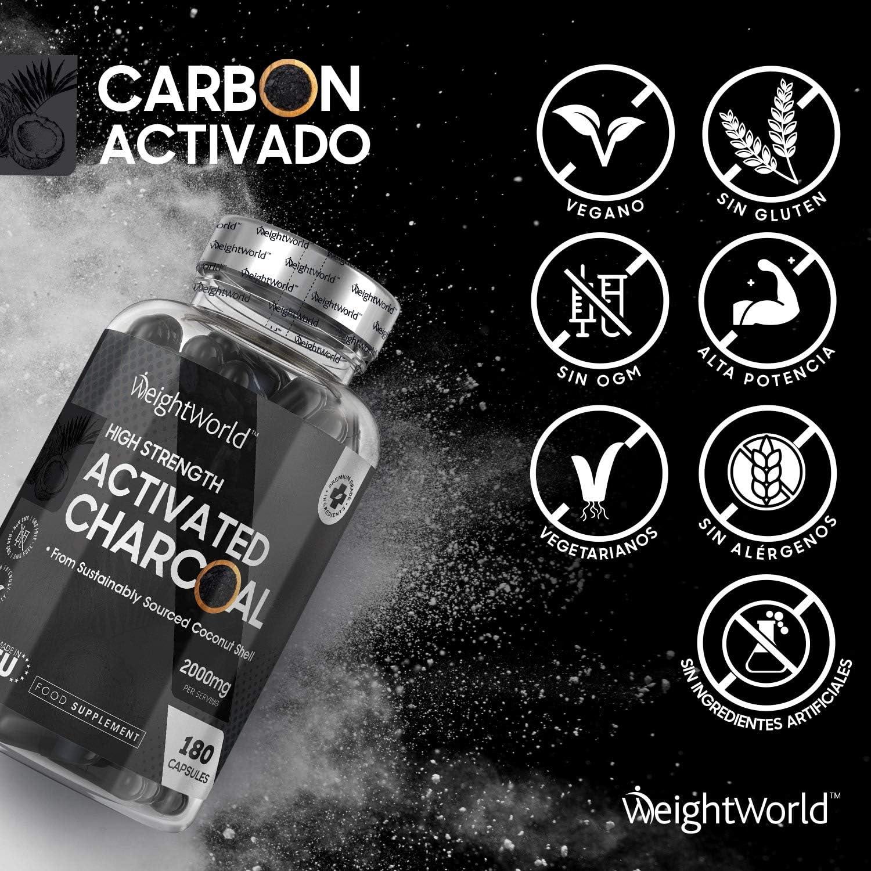Carbón Activado Cápsulas 2000mg 180 cápsulas | Suplemento Dietético Para Gases, Digestión y Flatulencia, Carbón Vegetal Activado de Cáscara de Coco ...
