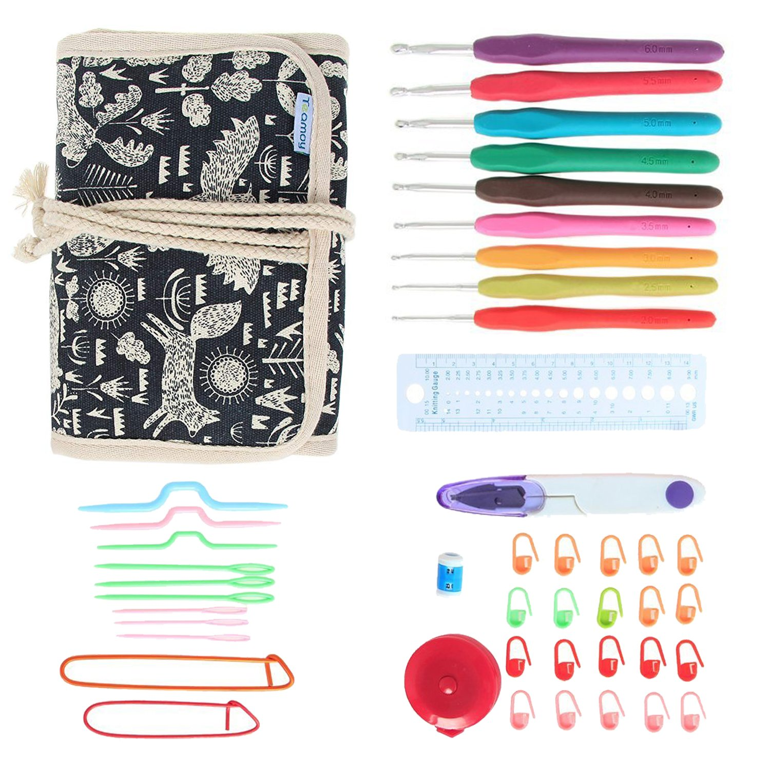Teamoy Ergonomic Crochet Hooks Set, Crochet kit with 9pcs 2mm to 6mm Rubber Grip Needles and Accessories, Perfect Size for Quick Grab-and-Go Damai 4336923072