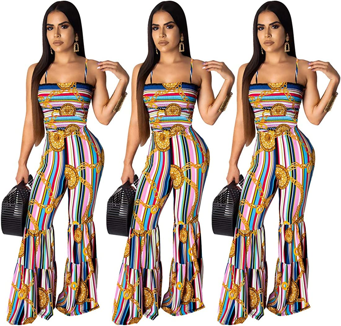 Womens Romper Off Shoulder Bandage Bell Long Pants Suits Jumpsuits