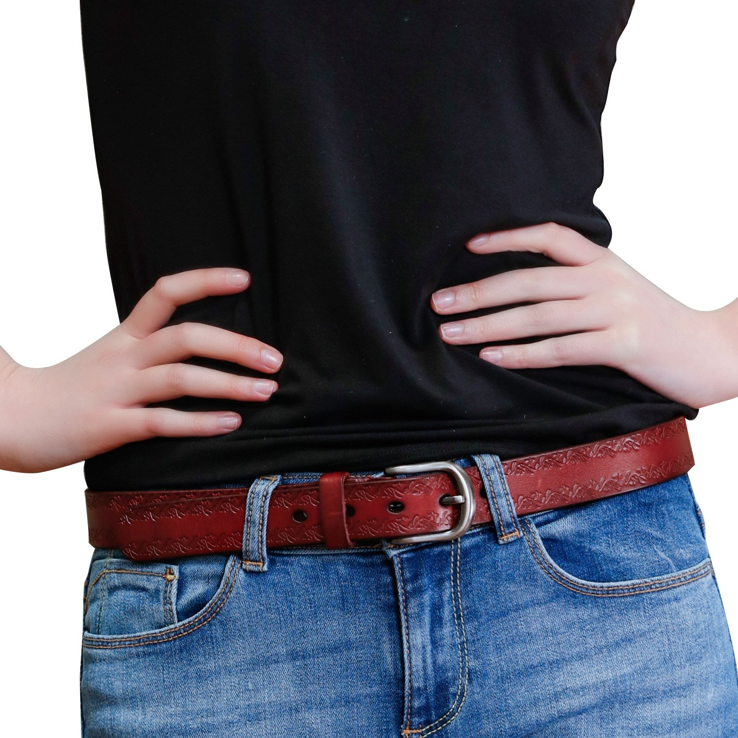 GSG Womens Trendy Embossed Genuine Leather Jeans Belt Casual Pin Buckle Belts for Women Summer Gifts M Brown