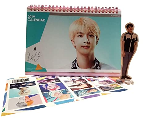 BTS JIN Desk Calendar 2019 2020 with JIN Mini Standing Figure + Special 2-Sided Photocard (JIN)
