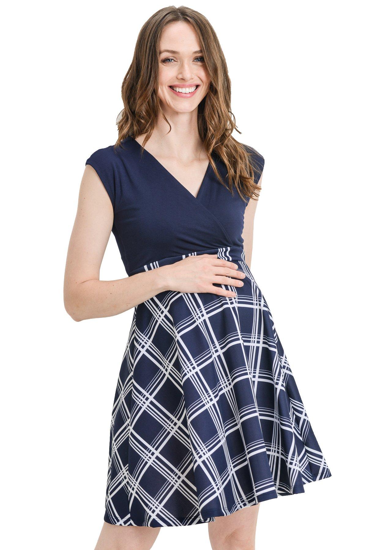 LaClef Women's Surplice Skater Nursing Friendly Maternity Dress (X-Large, Navy/White Stripe)