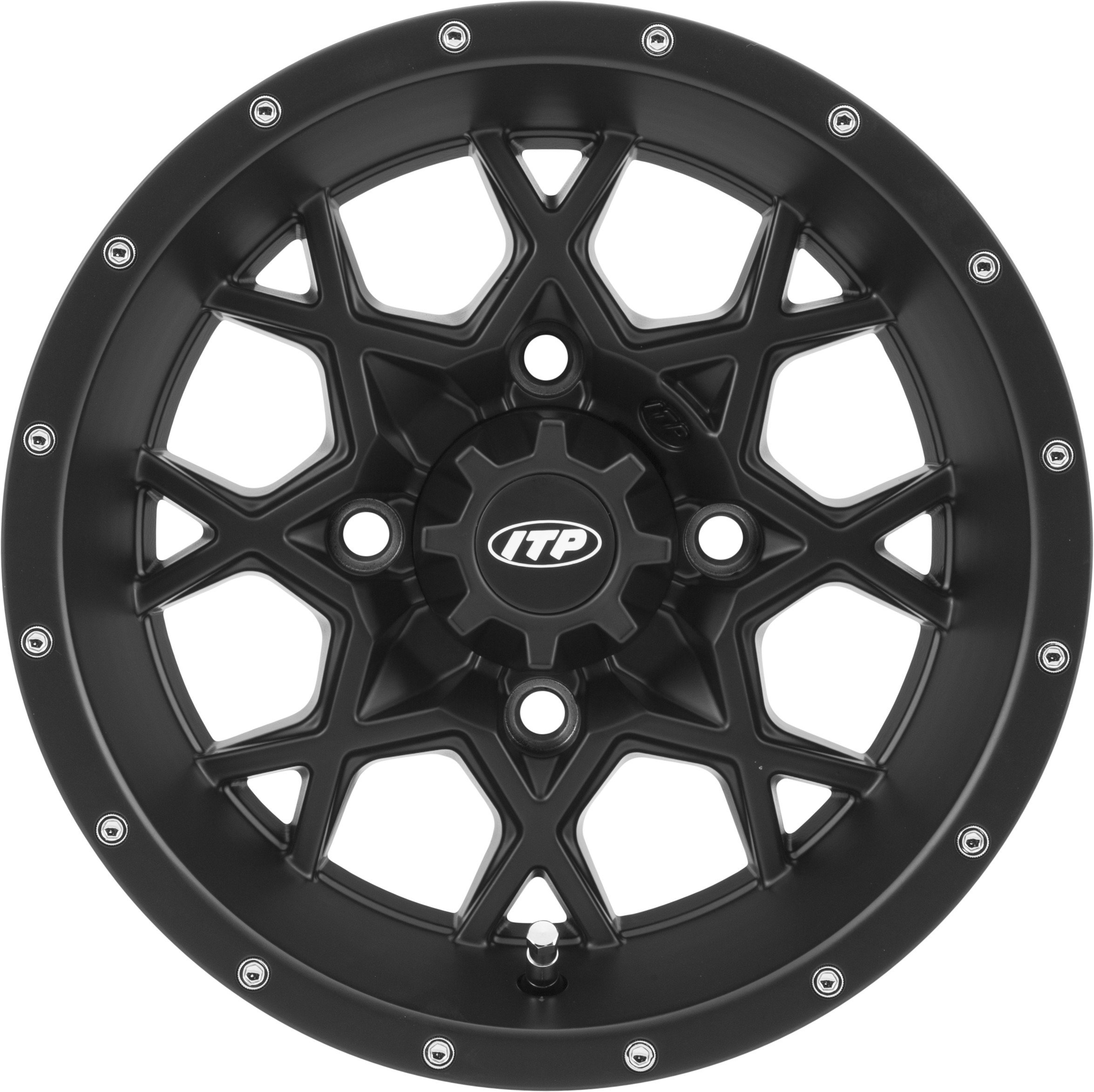 ITP Hurricane Matte Black Wheel with Machined Finish (14x7''/4x156mm)