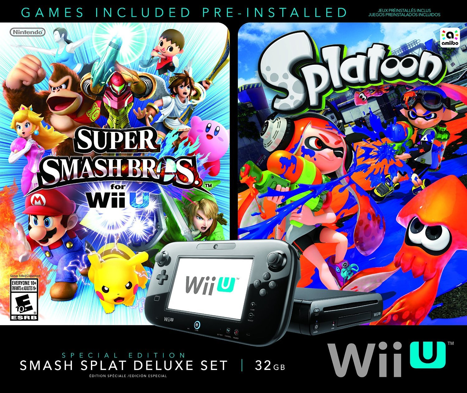 Wii U Super Smash Bros and Splatoon Bundle Special Edition Deluxe Set (Certified Refurbished) by Wii