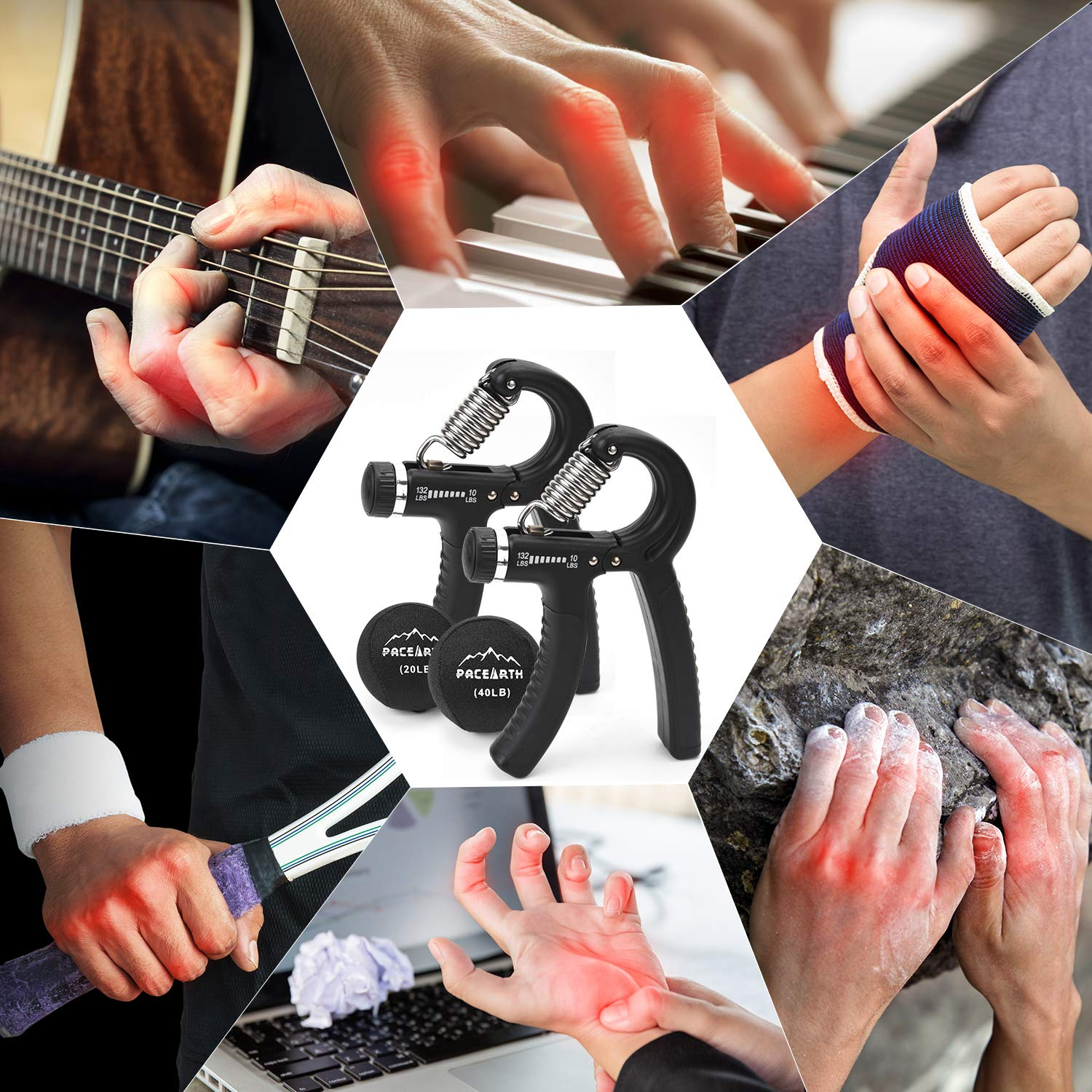 PACEARTH Hand Grip Strengthener Workout Kit 4 Pack Forearm Grip Adjustable Resistance Hand Gripper 10lbs-132lbs with Stress Relief Grip Ball for Athletes,Musicians,Injury Recovery,Muscle Builder
