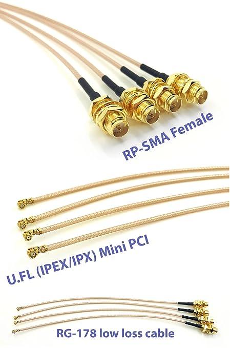 15 cm 5 cables coaxiales IPX IPEX U.FL a SMA hembra cable coaxial de baja p/érdida