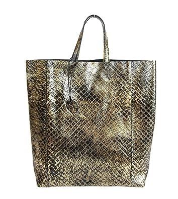 060a37db13c2 Bottega Veneta Women s Gold Black Leather Intrecciomirage Tote Bag 298778