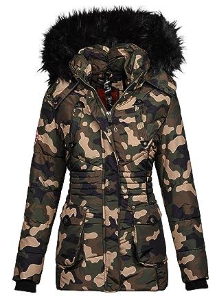 Marikoo Designer Damen Winter Jacke Parka Mantel Teddyfell warm gefüttert  B368 (S, Camouflage - 8f51e860dc