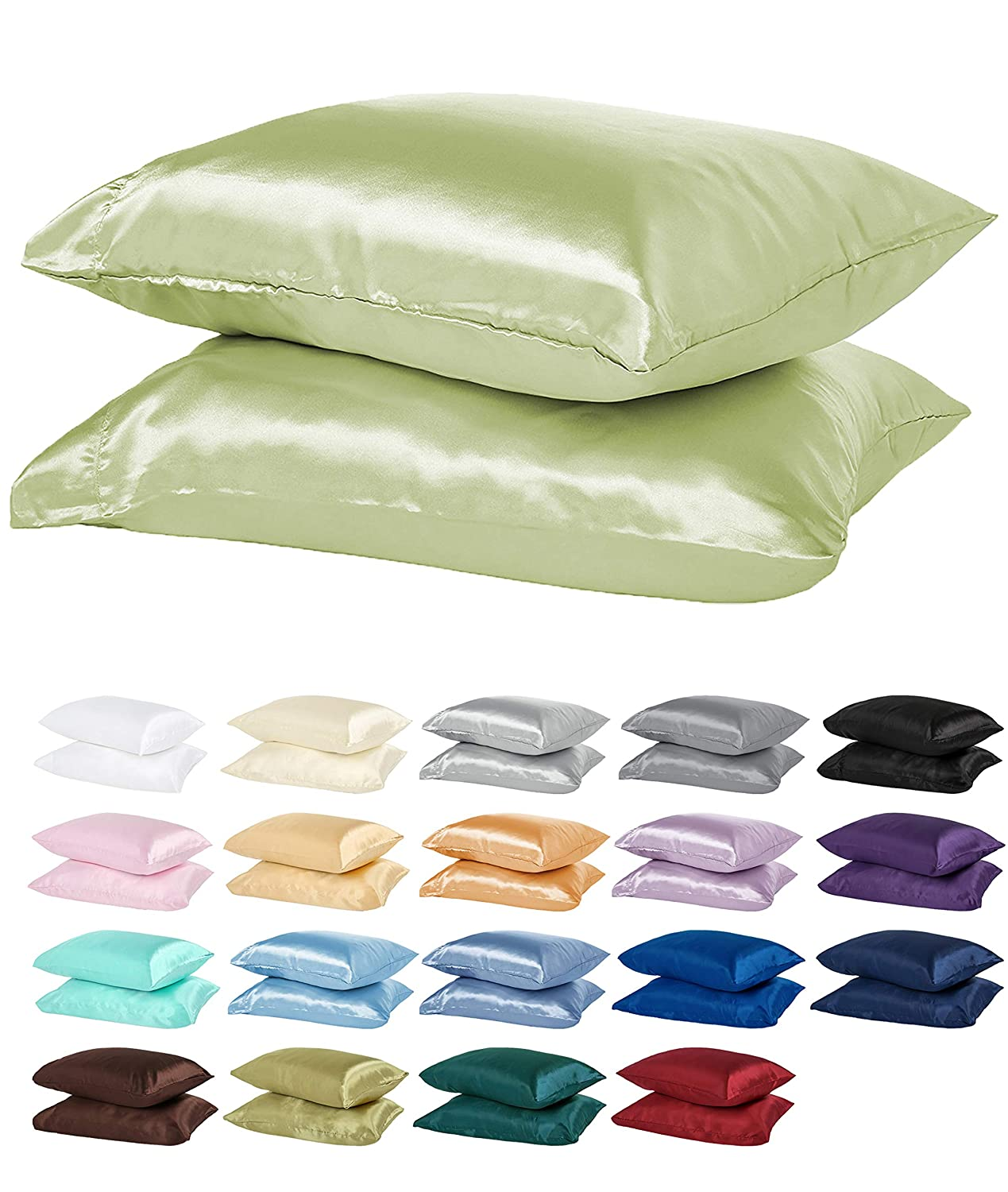 DreamHome Satin Pillow Case with Zipper, 2 Pillow Cases (Standard, Black)