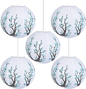 JAEP Japanese Lantern - Artistic Japanese Decor for Wedding Decorations, Oriental Style, Party Indoor Outdoor- Traditional Asian Decor -Turquoise- Paper Chinese Lanterns 14 Inch (Pack of 5)