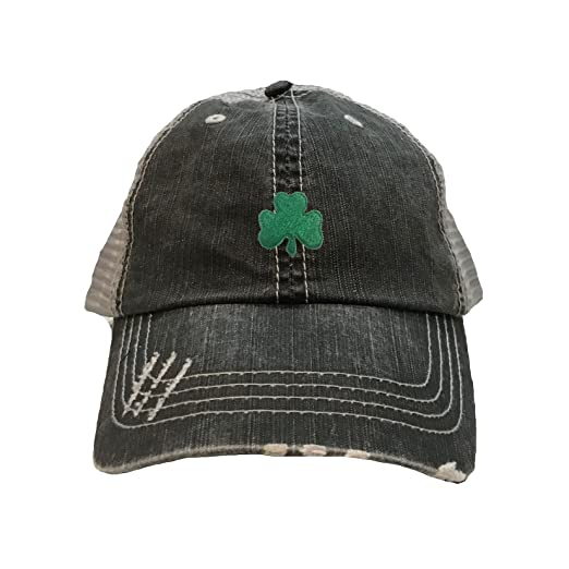 4b88bb73dc4 Go All Out One Size Black Grey Adult Shamrock St. Patrick s Day Embroidered  Distressed