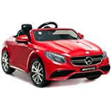 Mercedes Benz Licensed S63 AMG Kids Battery Powered Ride on Car with Parental Remote Control LED Lights Music (RED)