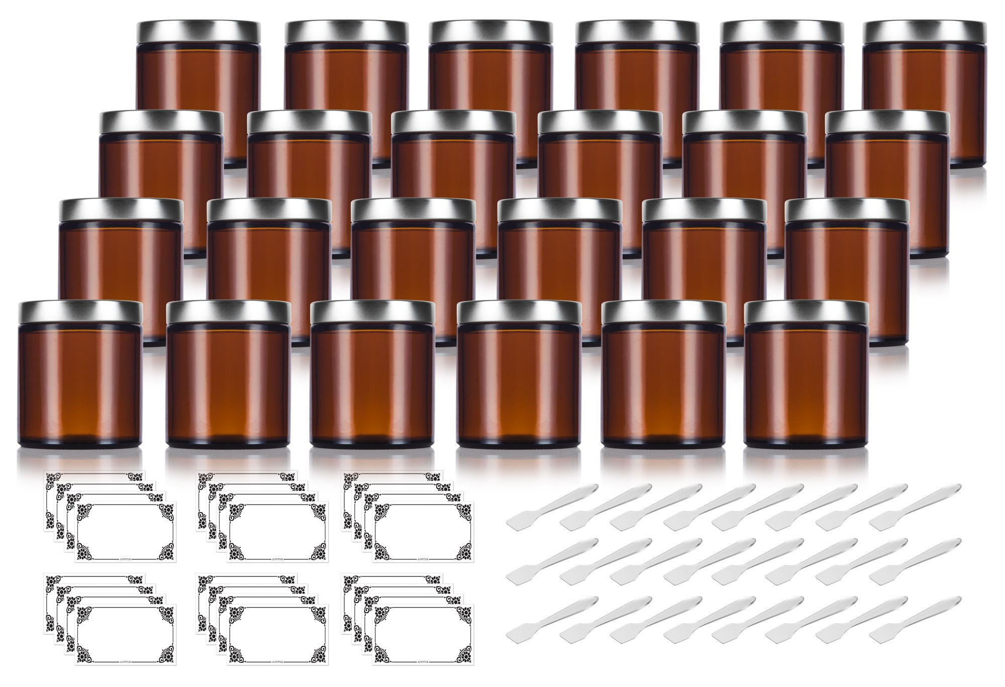 Amber Thick Glass Straight Sided Jar with Silver Metal Airtight Lid - 4 oz / 120 ml (24 pack) + Spatulas and Labels