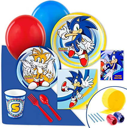 Basic Party Pack for 16 BirthdayExpress Sonic The Hedgehog Party Supplies