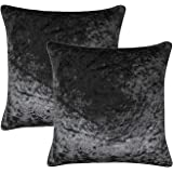 "Ideal Textiles Set of 2 Crushed Velvet Cushion Covers, Pair of Luxury Super Soft Cushions Cover, Luxurious Scatter Throw Cushion Cases, Black, 18"" x 18"" (45cm x 45cm)"