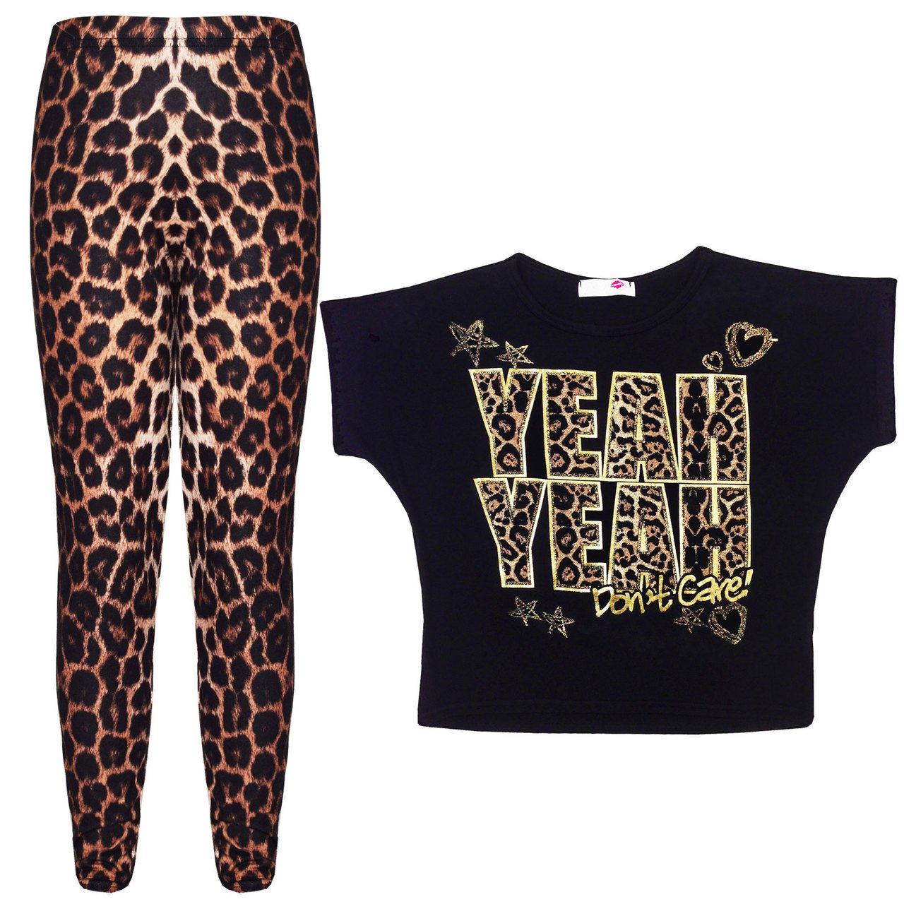 A2Z 4 Kids® New Girls YEAH YEAH Print Party Fashion Top T Shirt & Leopard Legging Set New Age 7-13 Years