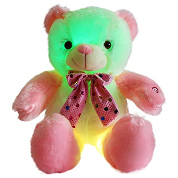 Amazon Com Wewill Light Up Teddy Bear Stuffed Animals Glow Colorful