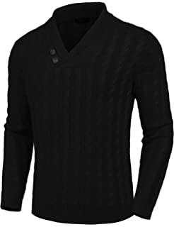 ASOBIMONO Mens Sweaters Shawl Collar Slim Fit Pullover Fall Winter Casual Knit Ribbed Coat