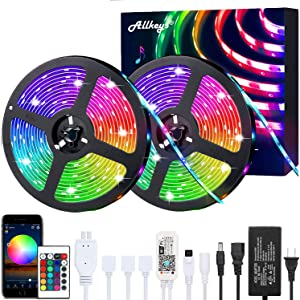 LED Strip Lights 32.8ft, Allkeys Led Lights Strip 5050 RGB 300 LEDs with 24 Keys IR Remote Controllers, LED Lights Color Changing Waterproof Music Sync APP Control for Bedroom Party Home Decoration