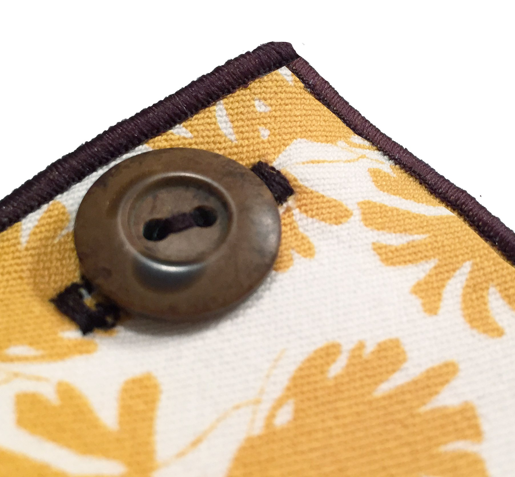 Yellow & White Print with Brown Button Men's Pocket Square by The Detailed Male by The Detailed Male (Image #2)