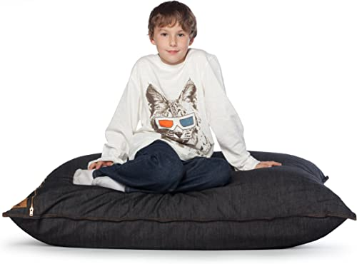 Jaxx 3.5 ft Pillow Saxx Kids Bean Bag, Black Denim