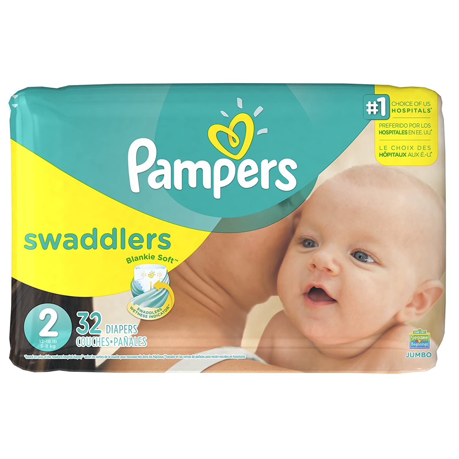 Pampers Swaddlers pañales desechables tamaño 2, 32 unidades, JUMBO ...