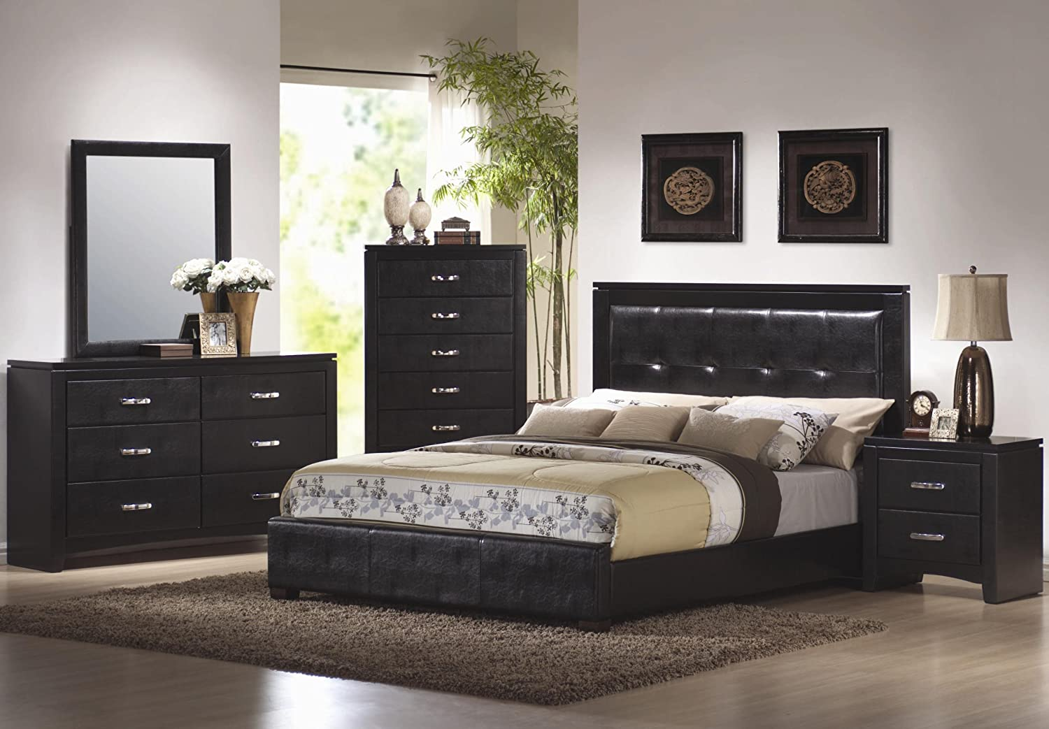 Amazon.com: 4pc California King Size Bedroom Set in Black Finish ...