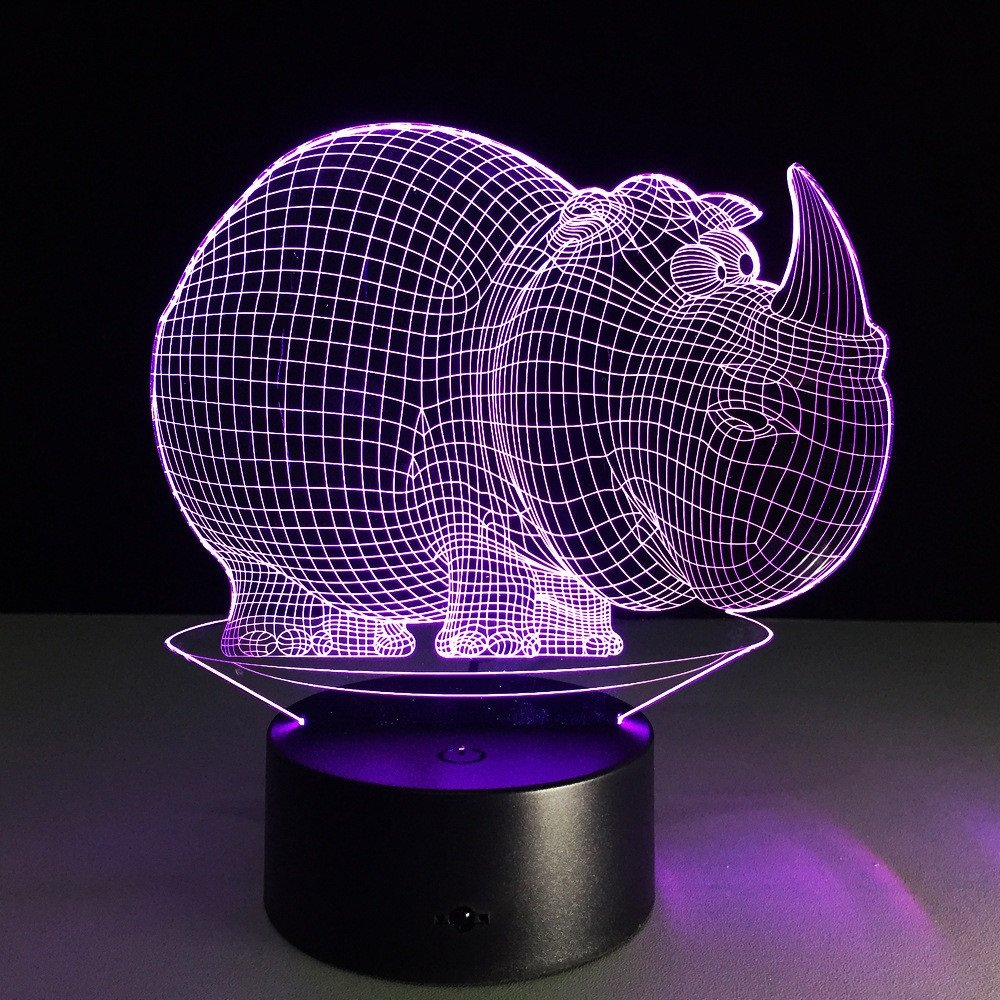 JSTMYYXGS 3D Night Light, Rhino 3D Acrylic Table Lamp Bedroom Bedside Lamp LED Night Light Creative Gift Lighting, (Size : with Music Player) by JSTMYYXGS (Image #1)