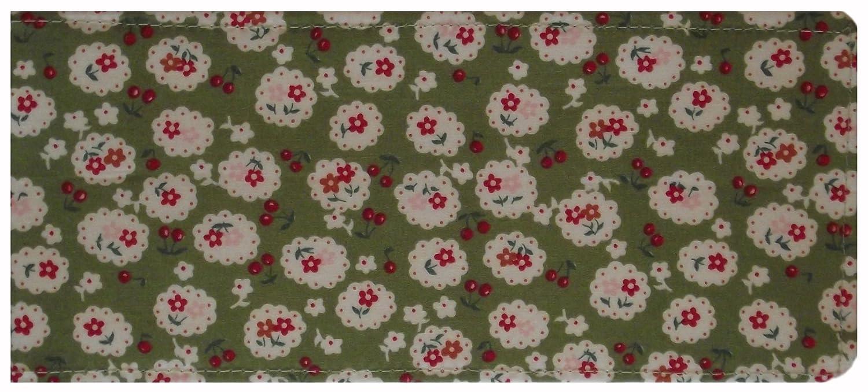 Green Cherry Blossom Chequebook Cover MPLCB037