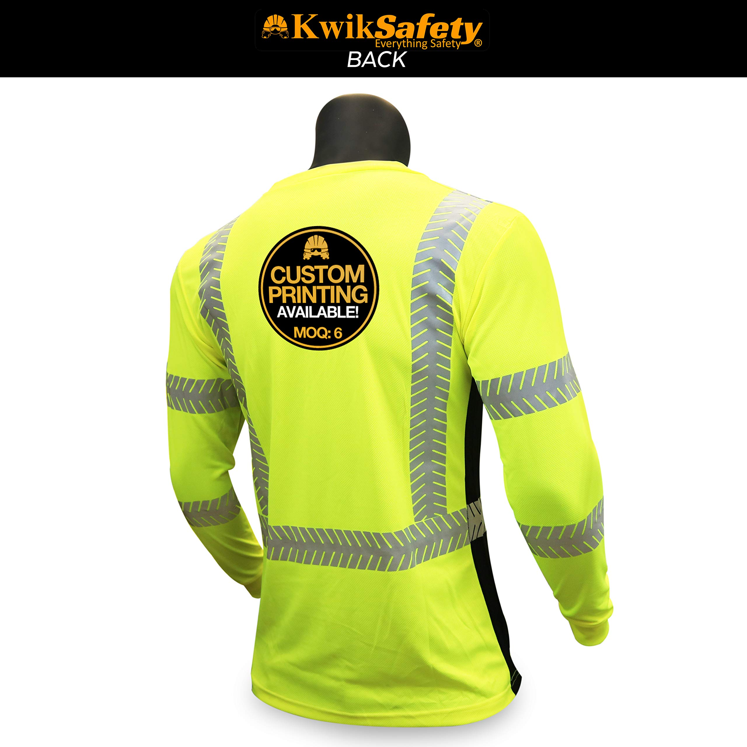 KwikSafety (Charlotte, NC) RENAISSANCE MAN (with POCKET) Class 3 ANSI High Visibility Safety Shirt Fishbone Reflective Tape Construction Security Hi Vis Clothing Men Long Sleeve Yellow Black XL by KwikSafety (Image #3)