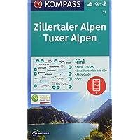 KOMPASS Wanderkarte Zillertaler Alpen, Tuxer Alpen: 4in1 Wanderkarte 1:50000 mit Aktiv Guide und Detailkarten inklusive Karte zur offline Verwendung ... Skitouren. (KOMPASS-Wanderkarten, Band 37)