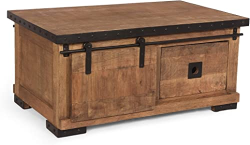 Jodie Modern Industrial Mango Wood Coffee Table, Natural Finish and Black