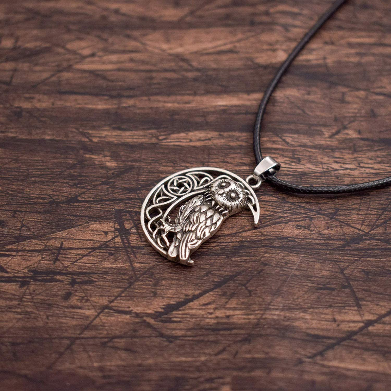 Handmade Irish Knot Abstract Wisdom Owl Necklace Pendant Jewelry on Rope Chain