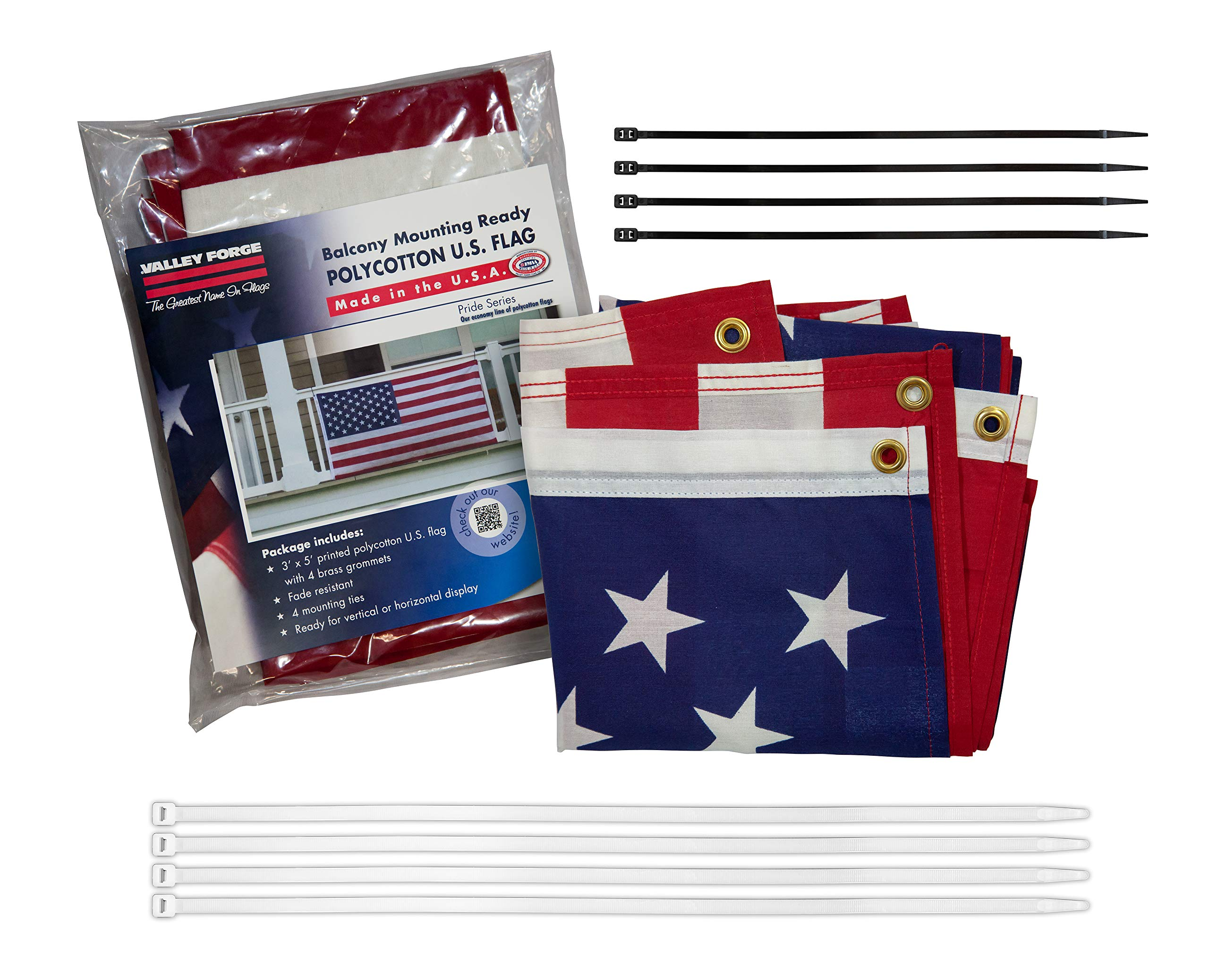 Valley Forge, American Flag Kit, Polycotton, 3'x5', 100% Made in USA, Balcony Mounting Kit, Heavy Duty Brass Grommets, Fasteners